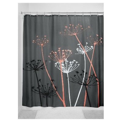 Shower Curtain Interdesign Floral Gray Coral