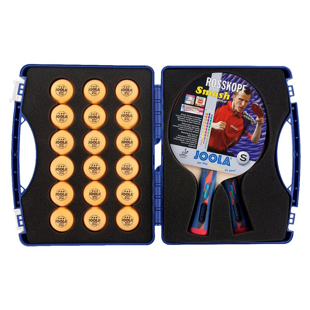 Joola Expert Table Tennis Tour Case (Includes Two Rossi Smash Rackets and 18 Balls), Multi-Colored