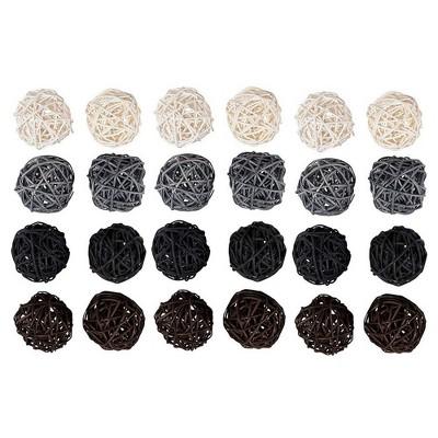 Juvale 24 Pack Wicker Rattan Balls, Natural Spheres Craft DIY, Vase Filler, 4 Colors, 45 mm