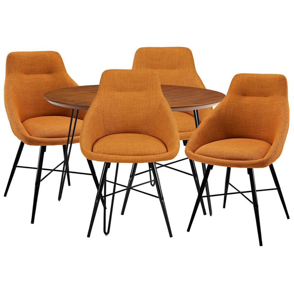 5pc Round Hairpin Dining Group With 4 Urban Chairs Orange/Walnut - Saracina Home, Brown/Orange