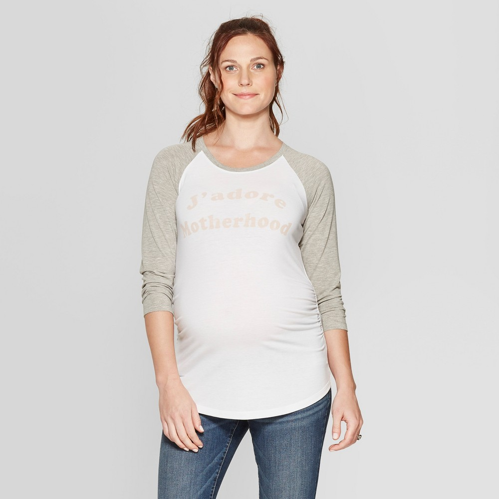 Maternity 3/4 Sleeve Jadore Motherhood Graphic T- Shirt - Isabel Maternity by Ingrid & Isabel White XS, Women's