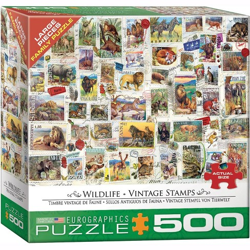Eurographics Inc. Wildlife Vintage Stamps 500 Piece Jigsaw Puzzle - image 1 of 4