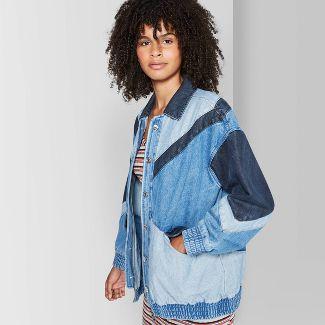 Women's Colorblocked Denim Trucker Jacket - Wild Fable™ Medium Wash S