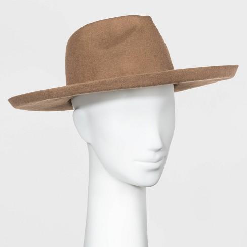 Women's Wide Brim Felt Fedora Hat - Universal Thread™ Tan One Size - image 1 of 1