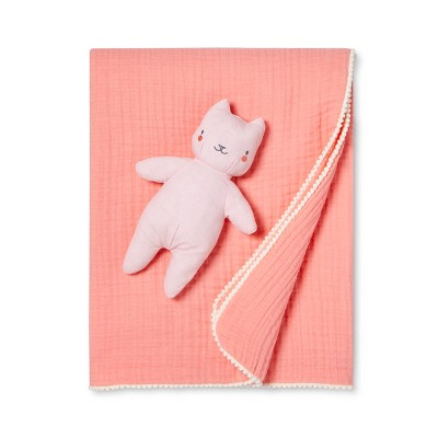 Gauze Baby Blanket & Plush Cat - Cloud Island™ Kava Coral