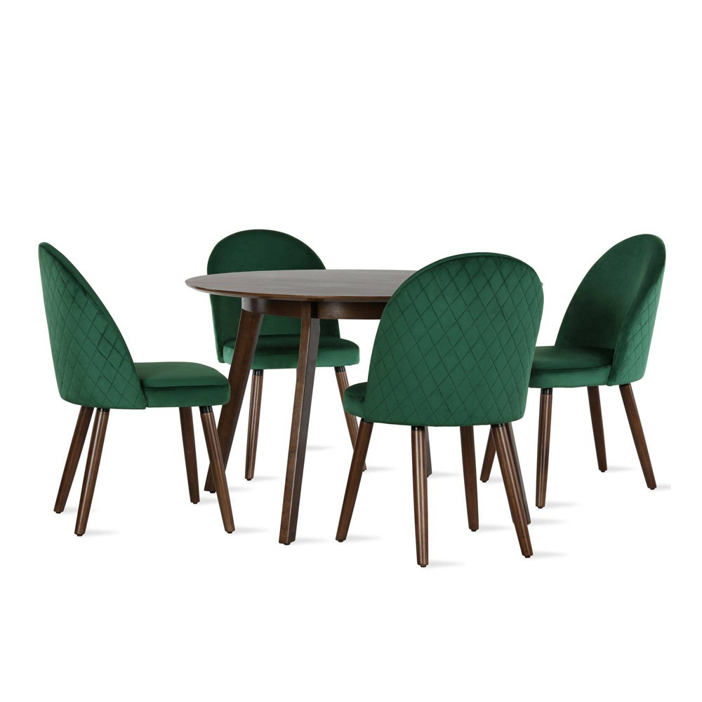 Image of 5pc Burma Mid Century Round Dining Set Green - Novogratz