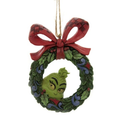 Jim Shore 3 5 Grinch Peeking Through Wreath Dr Seuss Ornament Tree Ornaments Target