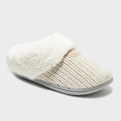 Women's dluxe by dearfoams Carol Scuff Slide Slippers - Oatmeal Heather L
