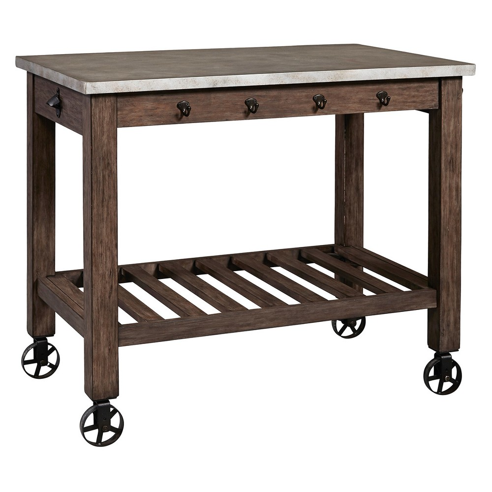 Distressed Metal Wrapped Industrial Kitchen Island - Brown - Pulaski