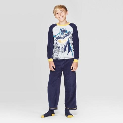 Boys' Batman Cozy 3pc Pajama Set with Socks - Navy - image 1 of 4