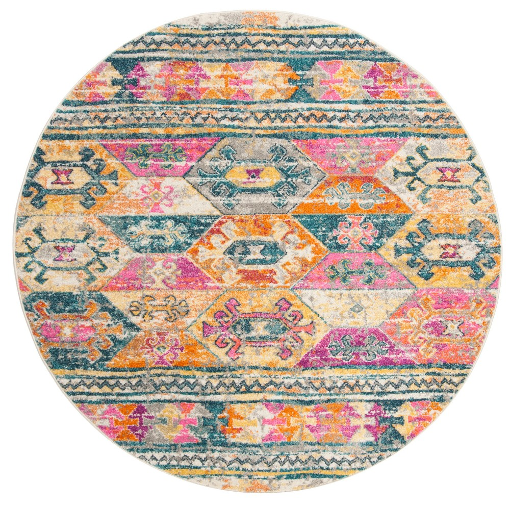 Best Sale 67 Tribal Design Loomed Round Area Rug BlueFuchsia Safavieh