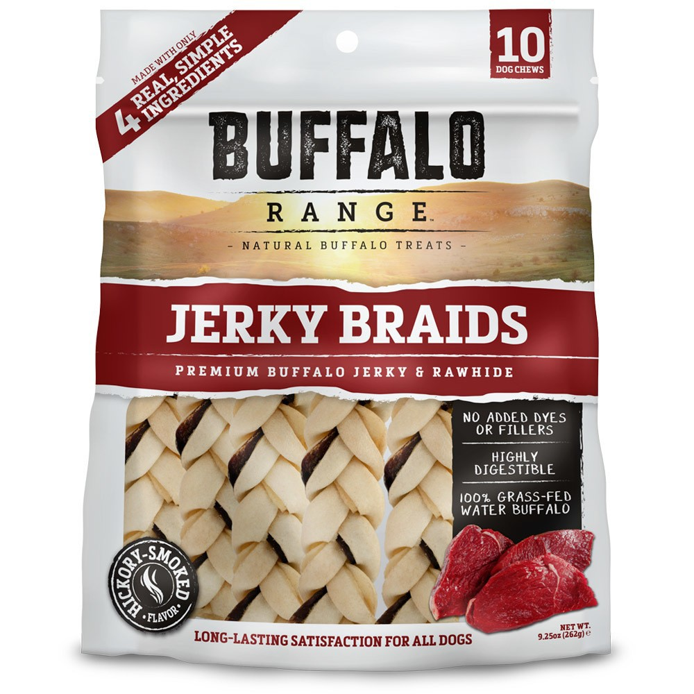 Buffalo Range Natural Jerky Braids Rawhide Chews for Dogs - 10ct