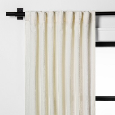 "95"" Tonal Texture Curtain Panel Sour Cream - Hearth & Hand™ with Magnolia"