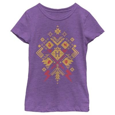 Girl's Harry Potter Hogwarts Icon Pattern T-Shirt