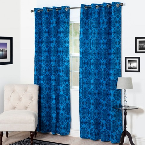 "Yorkshire Home Dana Flocked Curtain Panel - 95"" - Blue - image 1 of 4"