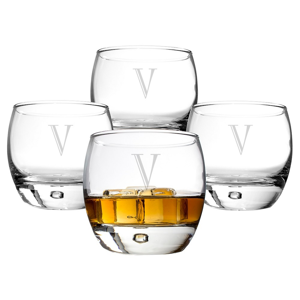 Cathy's Concepts Personalized 10.75 oz. Heavy Based Whiskey Glasses (Set of 4)-V, Clear