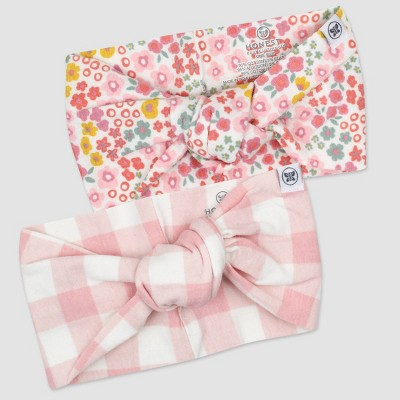 Honest Baby Girls' 2pk Organic Cotton Meadow Floral Knotted Headband - Pink