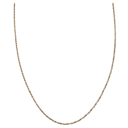 "Two-Tone Chain with Lobster Clasp Closure in Sterling Silver - Gray/Yellow (18"") - image 1 of 1"