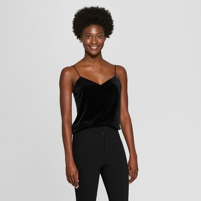Women's Velour Cami - A New Day™ Black XS