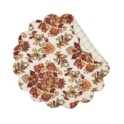 C&F Home Agnes Floral Cotton Quilted Round Reversible Placemat Set of 6