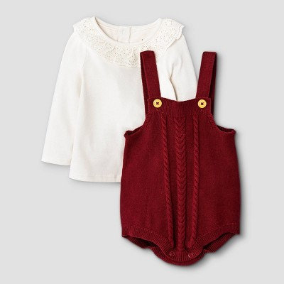 Baby Girls' Ruffle Cable Top & Bottom Set - Cat & Jack™ Maroon 0-3M