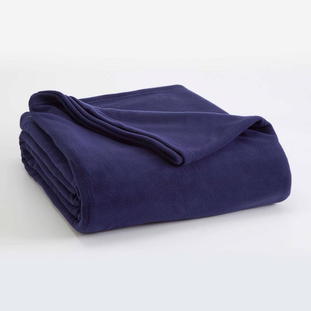 King Micro Fleece Bed Blanket Navy Vellux