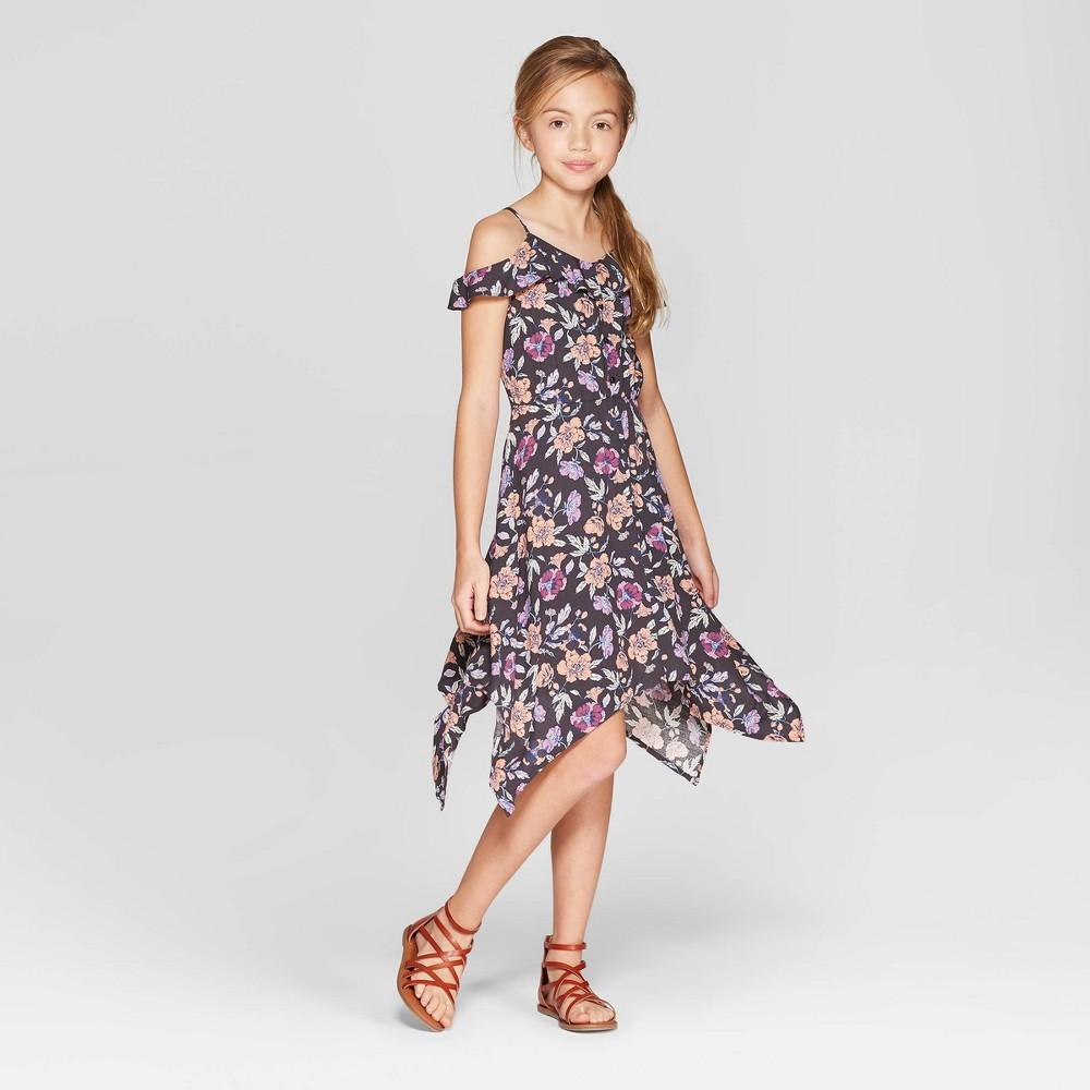 Girls' Floral Cold Shoulder Button Front Dress - art class Black M