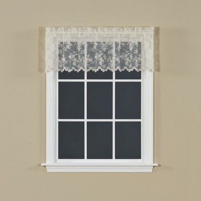 Saturday Knight Ltd Petite Fleur Collection High Quality & Traditional Lace Fresh Flowers Window Swag, Valance, Panel & Tiers in Ivory Color