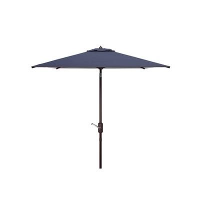 7.5' Square Athens Crank Umbrella Navy/White - Safavieh