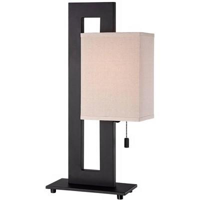 360 Lighting Modern Accent Table Lamp Espresso Bronze Floating Rectangular Oatmeal Box Shade for Living Room Family Bedroom