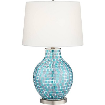 360 Lighting Modern Table Lamp Mosaic Teal Tiles Glass Jar Shaped White Drum Shade for Living Room Family Bedroom Bedside