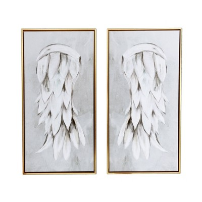 """29"""" x 29"""" Angel Wings Diptych Floating Framed Wall Canvas Gray - Gallery 57"""
