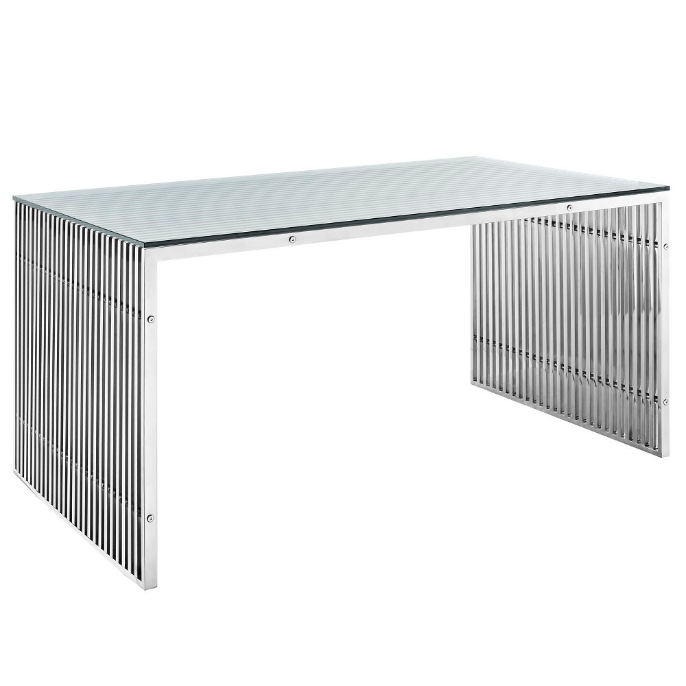 Image of Gridiron Stainless Steel Rectangle Dining Table Silver - Modway