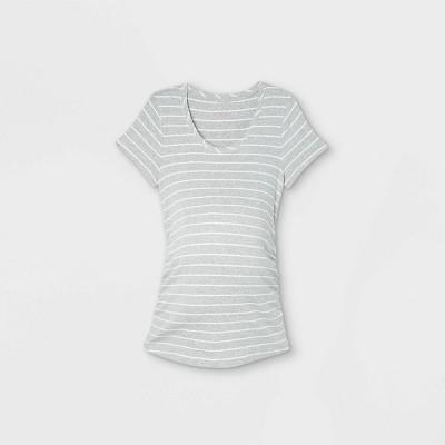 Short Sleeve Scoop Neck Side Shirred Maternity T-Shirt - Isabel Maternity by Ingrid & Isabel™