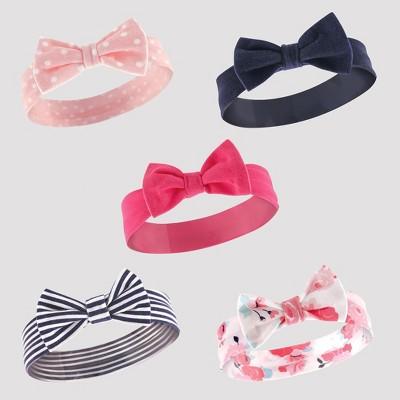 Hudson Baby Girls' 5pk Headband Set - Navy 0-12M