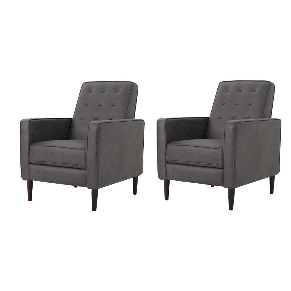Mervynn Mid-Century Recliner - Slate (Grey) (Set of 2) - Christopher Knight Home