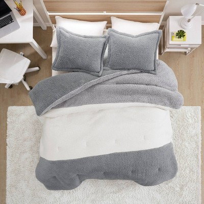 Full/Queen Remy Color Block Overfilled Sherpa Comforter Set Gray/Ivory