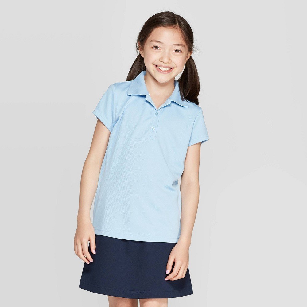 Best Online Girls Short Sleeve Performance Uniform Polo Shirt Cat Jack Light Blue Xxl