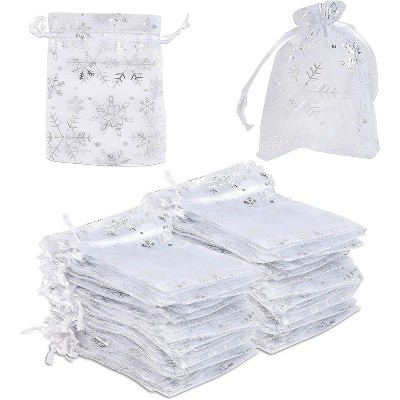 Sparkle and Bash 120-Pack Organza Small Gift Bags for Christmas Wedding, Silver Snowflakes (3.5 x 4.75 in)