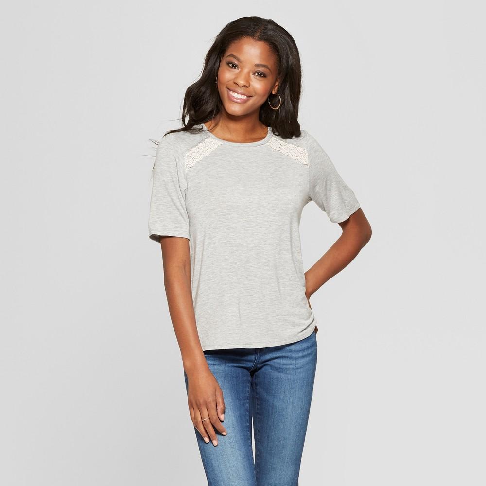 Women's Short Sleeve Button Back T-Shirt with Back Lace 2/3 - Xhilaration Heather Grey M