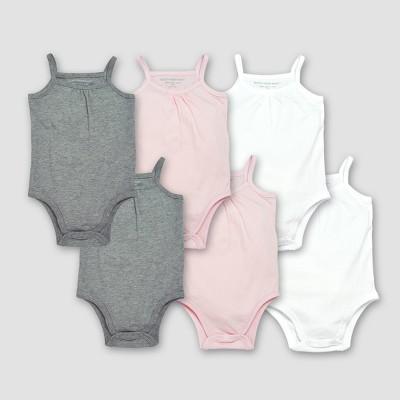 Burt's Bees Baby® Girls' Organic Cotton 6pc Camisole Bodysuit Set - Heather Gray/Blossom 12M