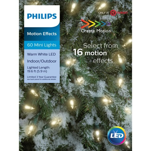 philips 60ct christmas led 16 function smooth mini lights warm white gw target