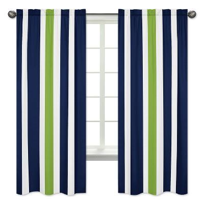 Sweet Jojo Designs Navy Blue & Lime Green Stripe Window Panels - Navy