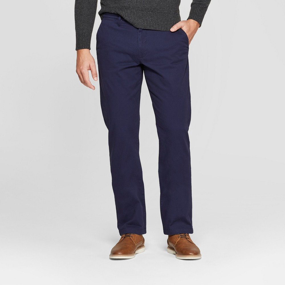 Men's Straight Fit Hennepin Chino Pants - Goodfellow & Co Navy 31x30, Blue
