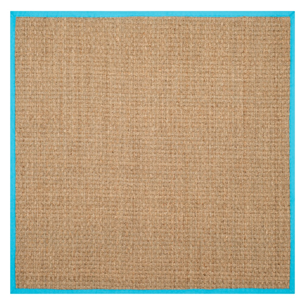 6'X6' Solid Loomed Square Area Rug Natural/Turquoise - Safavieh