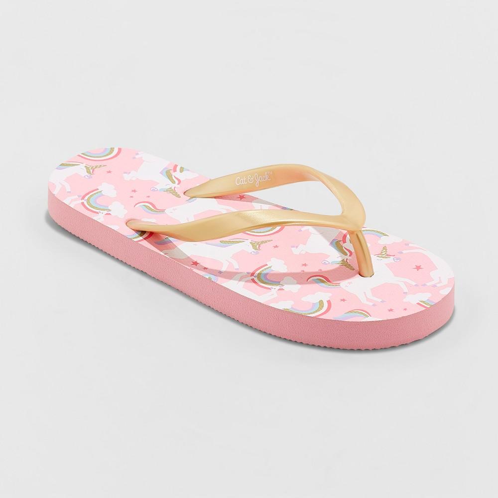 Image of Girls' Mari Unicorn Flip Flop Sandals - Cat & Jack Pink L, Girl's, Size: Large