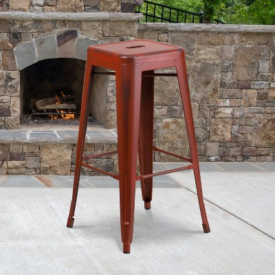 """Flash Furniture Commercial Grade 30"""" High Backless Distressed Metal Indoor-Outdoor Barstool"""