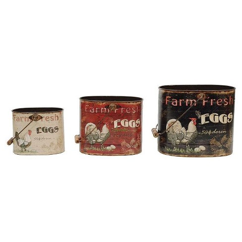 Tin Buckets with Rooster & Eggs - 3R Studios - image 1 of 1