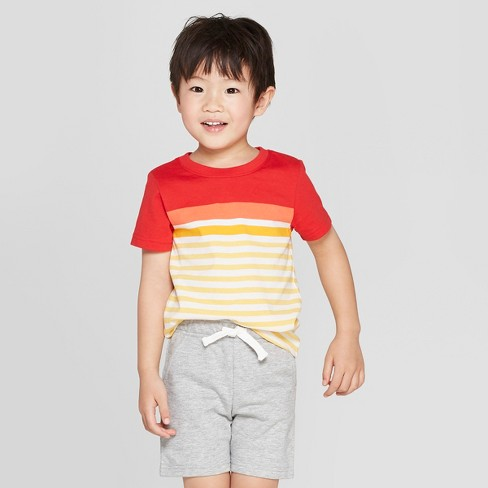 Toddler Boys' Striped Short Sleeve T-Shirt - Cat & Jack™ Yellow/Red - image 1 of 3