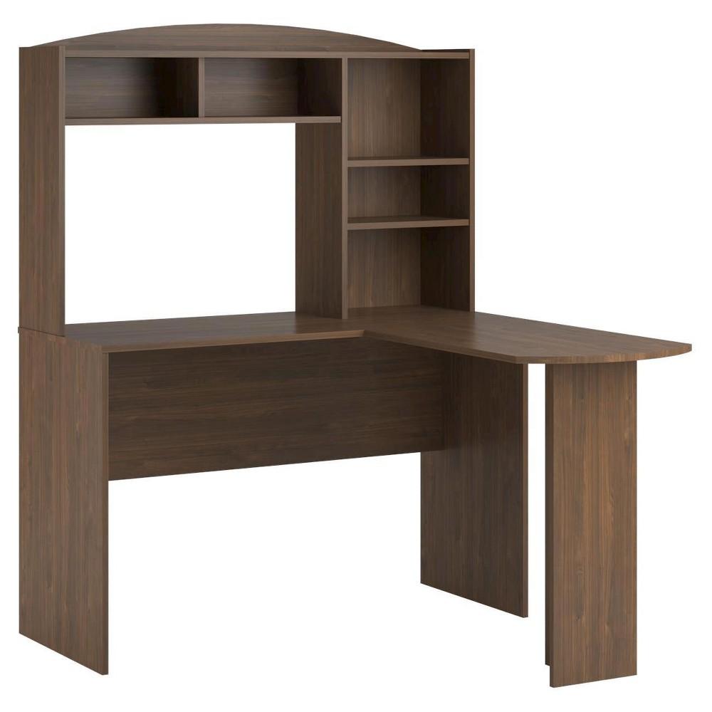 Danford L Desk with Hutch - Saint Walnut (Brown) - Room & Joy
